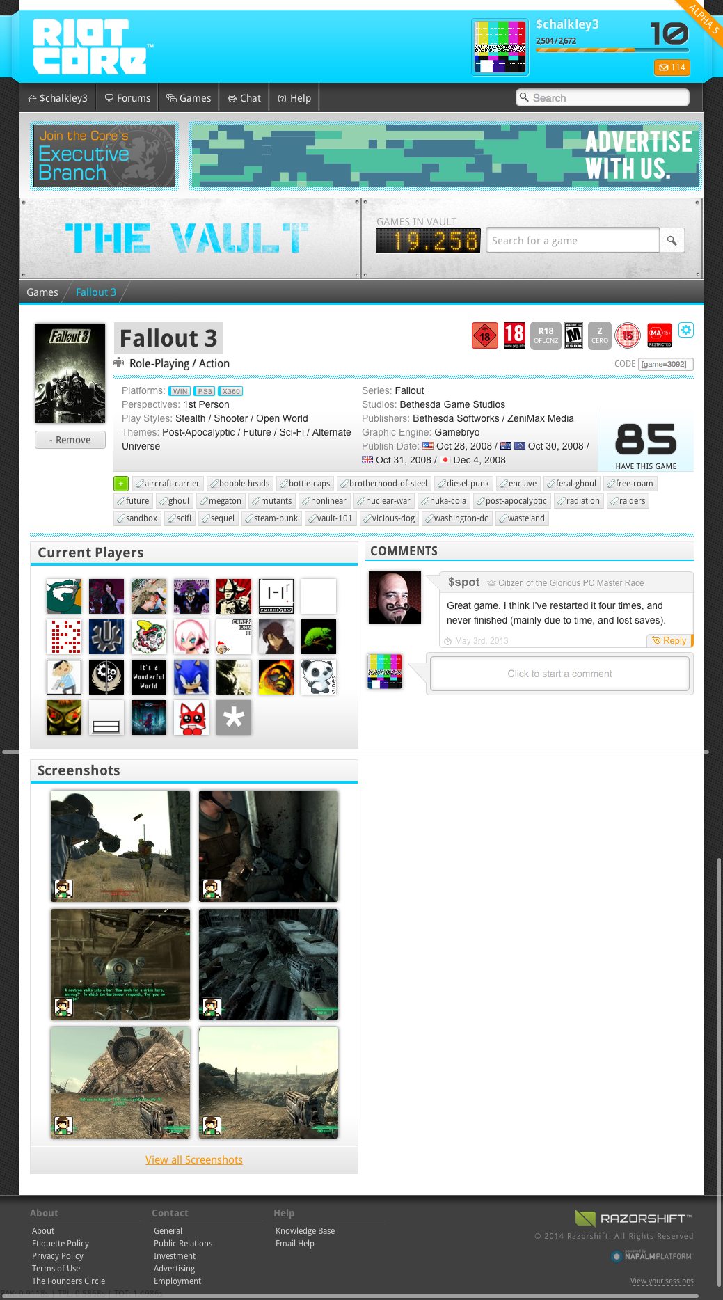 Game Vault detail page